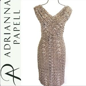 Adrianna Papell Leopard Print Fitted sheath dress